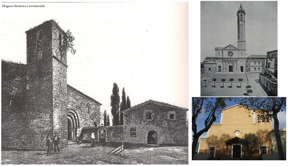Diferents estils de l'església de Santa Maria (Sants). Fotografies de l'Arxiu històric Sants- Montjuïc i Carme Illa (2015)